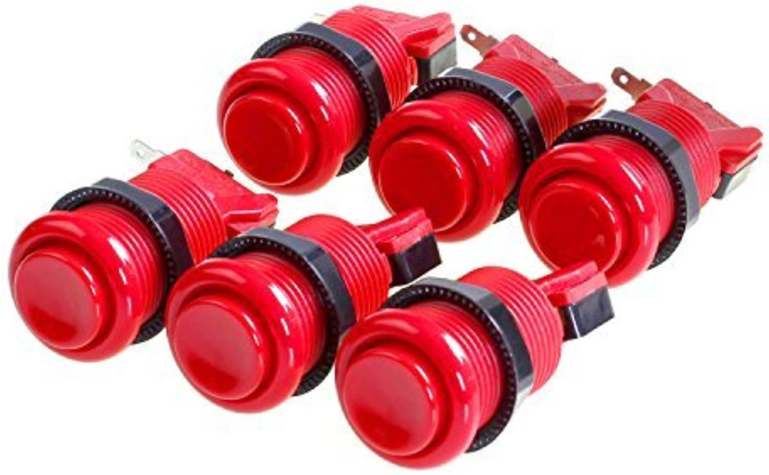 Amatek 6 PCS Happ Arcade Push Button With Microswitches- rot by Amatek
