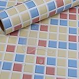 Hode Mosaik Fliesen Folie Selbstklebend, Fliesenaufkleber für Küchen, Bädern,40cmX300cm, Mosaik,Klebefolie Fliesenoptik für Wand, Tür, Möbel (Blau/gelb),Wasserdicht, Leicht zu Reinigen