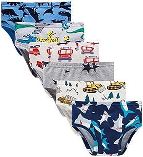 Boboking Little Boys Briefs Dinosaur Truck Toddler Kids Underwear (Pack of 6)