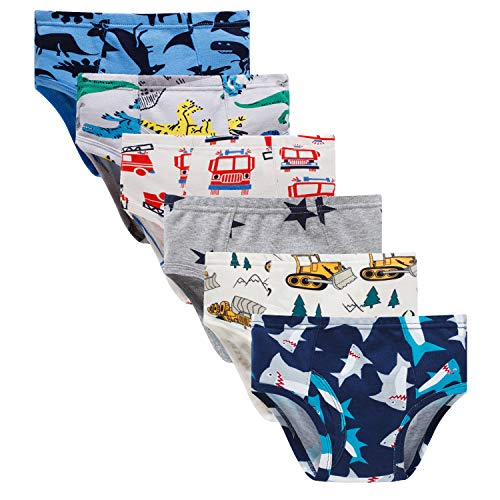 Boboking Little Boys Briefs Dinosaur Truck Toddler Kids Underwear (Pack of 6) , A-multi, 3T - 4T