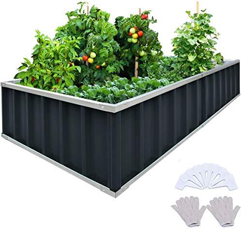 KING BIRD Raised Garden Bed 68'x 36'x 12' Galvanized Steel Metal Outdoor Garden Planter Box Kit with...