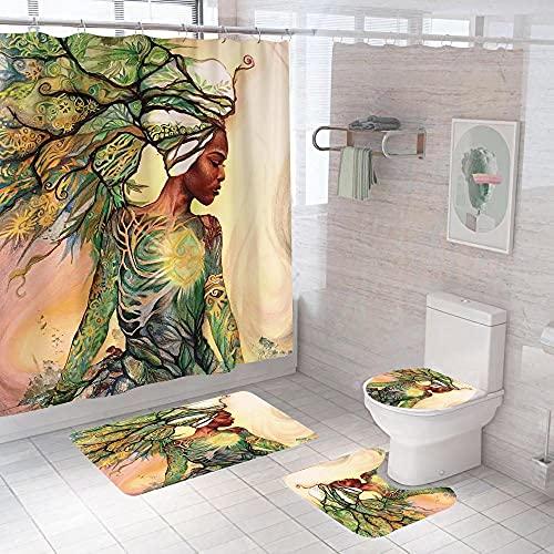 3D Gedruckter Duschvorhang 180x200 cm Gelbgrüner Mädchenbaum Wasserdicht Antibakterielles Duschvorhang gesetzt Polyester rutschfest Badematte Waschmaschinenfest