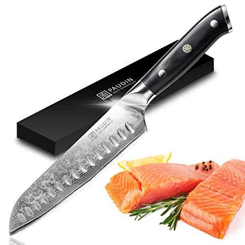 PAUDIN Damast Santokumesser 17cm - Profi Küchenmesser Messer aus Damaststahl mit Micarta-Griff