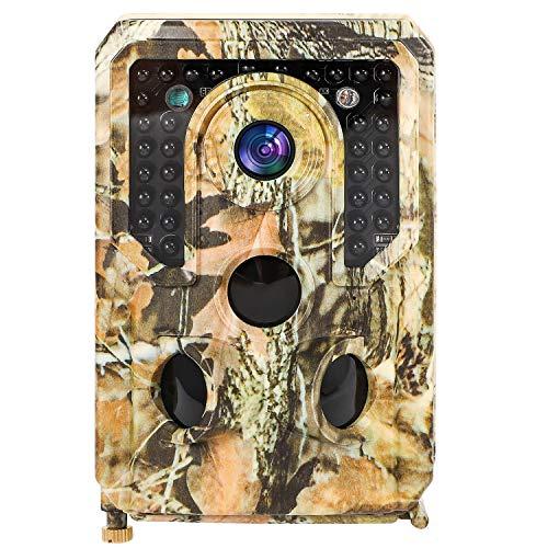 Growment Wildkamera 1080P HD Jagdkamera Bewegungsmelder 120 °Weitwinkel Nachtsichtkamera mit 8G Speicherkarte,Kartenleser,USB-Kabel,Halterung,Baumaufhängegurt,deutsches Handbuch