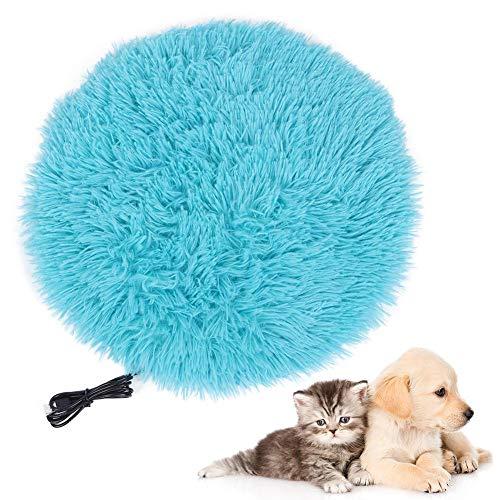 Haustier Heizkissen Elektrische Hunde Katze Kaninchen Heizkissen USB Lade Haustier Heizdecke 28 ℃ Konstante Temperatur Heizkissen Matte Plüsch Katze Hundebett Matte(Royalblau)