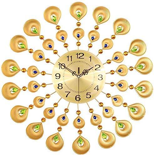 Reloj de pared, relojes decorativos de cristal de pavo real, relojes de pared, relojes Muti creativos para salón, decoración de pared de casa europea