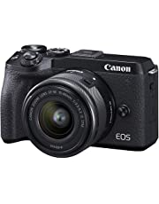 Canon Digital Camera EOS M6 MKII(BK) 15-45(in) with 16GB Ultra Card & Bag