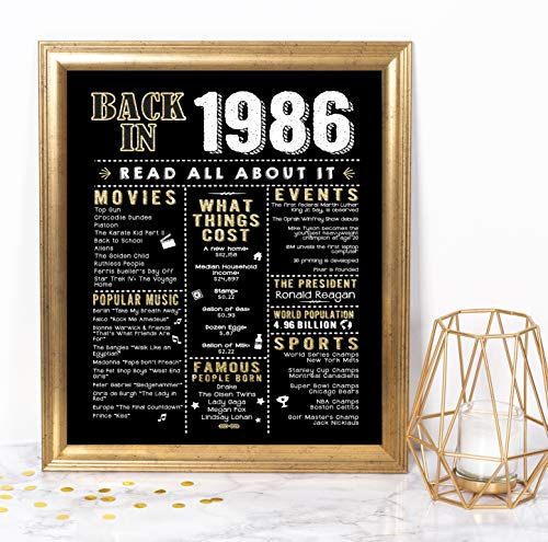 Katie Doodle 35th Birthday Decorations Party Supplies Anniversary Card Gifts for Men or Women Turning 35 Years Old - Includes 8x10 Back in 1986 Print [Unframed], Black and Gold
