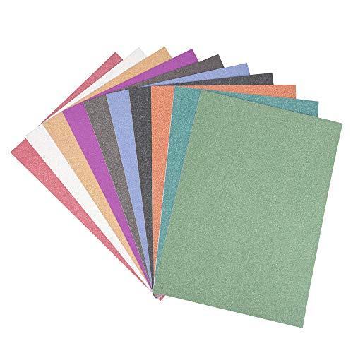 ewtshop® 10 Blatt Glitzerpapier, Selbstklebende Dekofolie im Format DIN A4, 10, Bastelpapier, Glitterpapier, Glitzerfolie