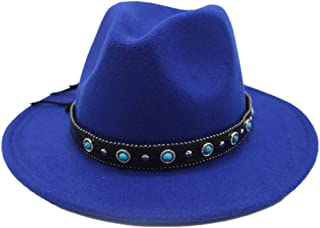 PengCheng Pang Men Women Wool Fedora Hat for with Punk Belt Winter Outdoor Church Casual Hat Wide Brim Fascinator Hat Size 56-58CM (Color : Blue, Size : 56-58)