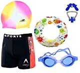 THE MORNING PLAY Boys Swimming Kit with 1 Swimming Shorts   Costume   Trunk 1 Anti Fog Swimming Goggles Swim Ring Swimming Cap 1 Nose Clip 2 Ear Plugs Multi-Color (4-5 Years)