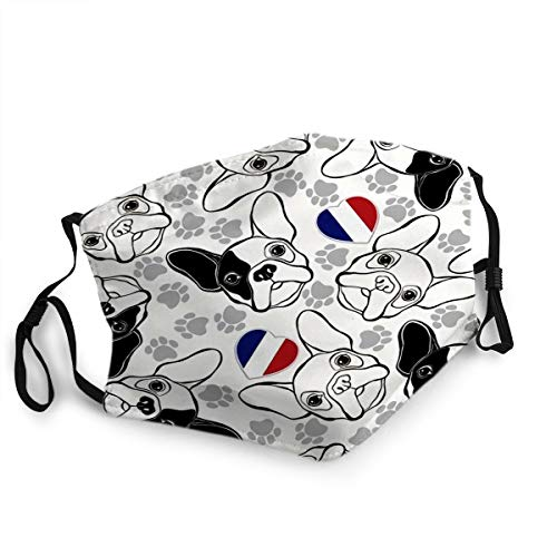 Reusable Face Decoration Mouth Mask French Bulldog Traces and Heart Flag