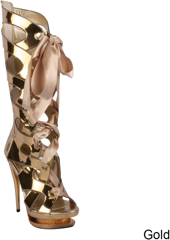 Ellie Women's 603-TEAGAN Metallic Calf Boot