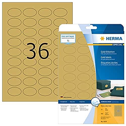 Herma 4109 - Etiquetas para impresoras (900 unidades), dorado