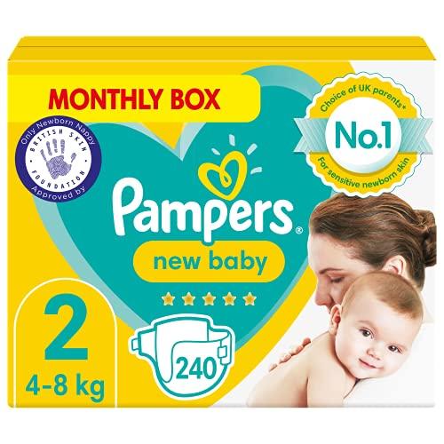 Pampers Pañales de bebé tamaño 2, 240 unidades, protección para la piel sensible del recién nacido (4-8 kg)