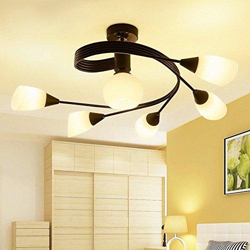 YLXB Nordic minimalistisch modern slaapkamer woonkamer glas LED Creative restaurant plafondlamp, licht driekleurig 6 koppen