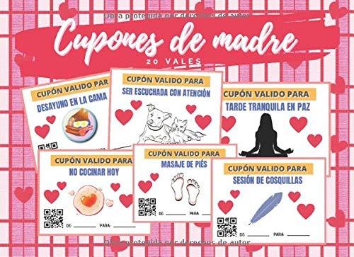 CUPONES DE MADRE: TALÓN DE VALES CANJEABLES (DESAYUNO EN CAMA, MASAJE, ESCUCHAR CON ATENCIÓN...) | BONITO REGALO PARA ELLA | DÍA DE LA MADRE | MUJER | CUMPLEAÑOS.