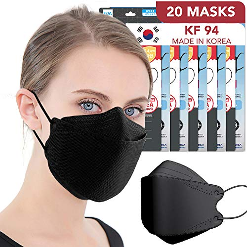 Black 4-Layers Filters Disposable Face Mask [KF Certified] Individually Packaged Breathable Nose Clip Anti Fog Protection FDA Registered Dust Masks for Men Women [20 PCS]