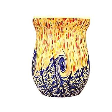 COOSA Ocean Wave Glass Electric Incense Oil Warmer Wax Tart Burner Fragrance Warmer Night Light Home Office Bedroom Living Room Aroma Decorative Lamp Gifts & Decor