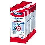 SOS Desinfektions-Tücher: Desinfektionstücher zur gründlichen und schnellen Hand- & Flächendesinfektion, 10 x 10 Stück