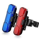 Luz LED Trasera Bicicleta Potente LED en Roja/Azul, Luz Trasera para Bicicleta Recargable USB con Impermeable de IPX4, con 5 Modos Fijos e Intermitentes