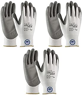3 Pair Pack Great White 3GX 19-D322 Formerly (19-D622) Cut Resistant Work Gloves, ANSI Cut Level 3,Dyneema/Lycra with Polyurethane Coated Palm and Fingers, Gray/White (Large) by Great White