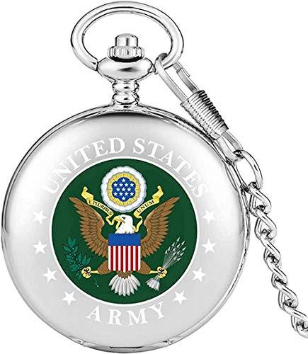 Reloj de Bolsillo de Cuarzo de Logotipo del Ejército de los Estados Unidos práctico de los Estados Unidos Relojes de Bolsillo de la Caja de Plata hábiles de la Cadena de Aluminio del Reloj para r