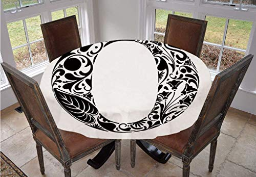 Angel Bags Letter O Round Tablecloth,Monochromatic Design Uppercase O with Classical Leaf and Flower Natural Motifs Polyester Table Cover,48 Inch,For Parties Weddings Spring Summer Black White