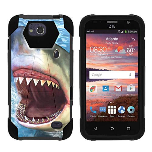 TurtleArmor   Compatible with ZTE Maven Case   ZTE Fanfare Case   ZTE Atrium Case [Dynamic Shell] Hybrid Duo Cover Impact Absorbent Shock Silicone Kickstand Hard Shell Animal - Shark Attack