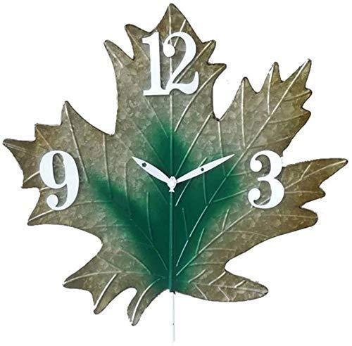 SBTXHJWCGLD Reloj de Pared para jardín al Aire Libre, 18 Pulgadas, diseño de Hoja Creativa Grande, Reloj de jardín, Hoja de Metal, Resistente al Agua, Reloj al Aire Libre, sincronización preci