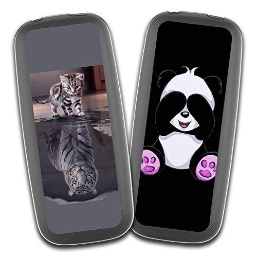 """Cover Nokia 105 2017,Tigre Bianca + Panda Carino Premium Morbida Silicone Gel TPU Anti-graffio Cellulare Protezione Custodia per Nokia 105 2017 (1,8"""")"""