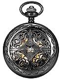 AMPM24 Steampunk Black Copper Case Skeleton Mechanical Pocket Watch...