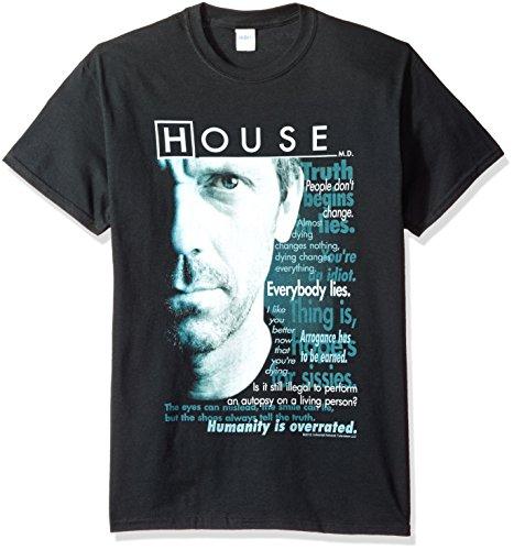 Trevco Men's House TV Series Short Sleeve T-Shirt, Houseisms Black, Large