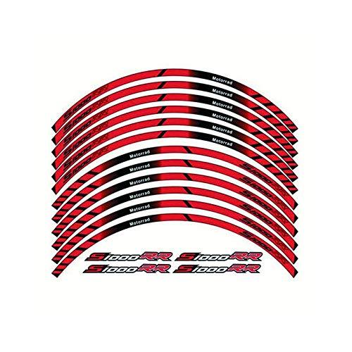 para BMW S1000RR S1000 RR Calcomanías de la Rueda de la Motocicleta Pegatinas Reflectantes Rim Stripes S1000 RR DIY (Color : Rojo)