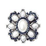 U/N Llegada Color Azul Marino Diamantes de imitación Perla broches Cruzados para Mujer Abrigo joyería Vintage Moda Broche Pin Regalo