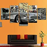 XZWYB Coche clásico Chevrole Corvette 5 Panel Lámina del Paisaje del Arte impresión en Lona Cuadros de la Pared de la Foto,para el hogar decoración Moderna impresión