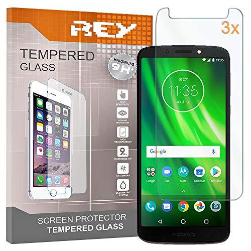 REY Pack 3X Pellicola salvaschermo per Motorola Moto G6 Play, Pellicole salvaschermo Vetro Temperato 9H+, di qualità Premium