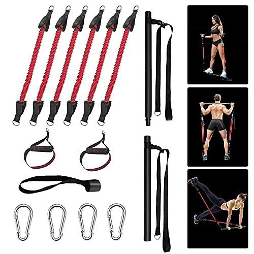 GJCrafts Kit de Barra Pilates portátil Ajustable con 6 Bandas elásticas de Resistencia, bastón de Ejercicio de Yoga Desmontable para Entrenamiento en casa, para moldear el Cuerpo elástico