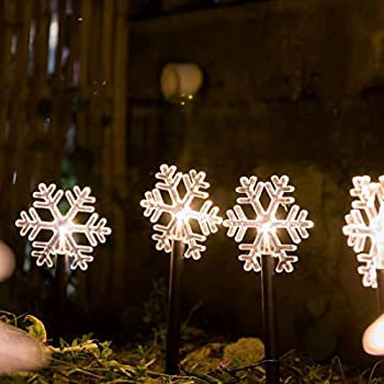 ALULA Solar Pathway Lights Christmas Snowflake LED Garden Path Makers Display Light Warm White for Indoor and Outdoor Holiday Decoration 5pac