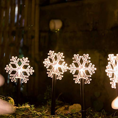 ALULA Solar Pathway Lights Christmas Snowflake LED Garden Path Makers Display Light Warm White for Indoor and Outdoor Holiday Decoration(5pac)