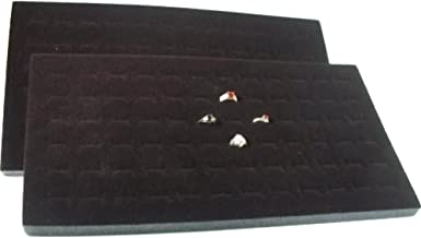 FindingKing 2 72 Slot Black Jewelry Travel Ring Inserts Display Pads