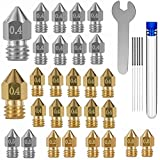 32PCS Mk8 Nozzles 3D Printer Extruder Nozzles Hardened Steel, Stainless Steel, Brass High Temperature Pointed Wear Resistant Nozzle 0.4mm,Compatible with CR-10, Ender 3/ V2 Ender3 pro,Prusa i3 (5)