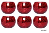 Hosley Set of 6 Red Crackle Glass Tea Light Holders 3.94 Inch Diameter. Ideal Gift or Use for Weddings Special Occasions Votive Candle Gardens Spa Aromatherapy Restaurants W5