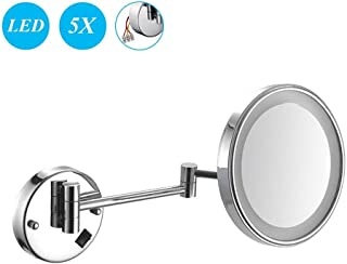 Makeup Mirror, 8inch 5X Magnification Wall Mounted Mirrors Makeup Shaving Mirror LED Lighted Bathroom Mirror Conceal Install with Adjustable Extendable