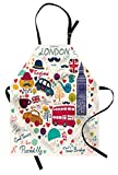 Lunarable London Apron, Colorful Red Bus Big Ben Tea Umbrella Hat Retro Black Cabin in a Heart Print, Unisex Kitchen Bib with Adjustable Neck for Cooking Gardening, Adult Size, Red Pink