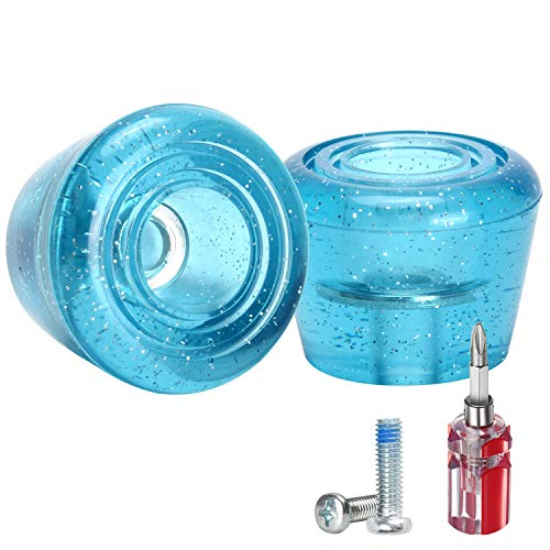 TOBWOLF 1 Pair PU Roller Skate Toe Stoppers with Bolts & Screw Driver, 82A Roller Quad Skate Toe Stops, Double-Row Roller Skating Brake Jam Plugs - Blue