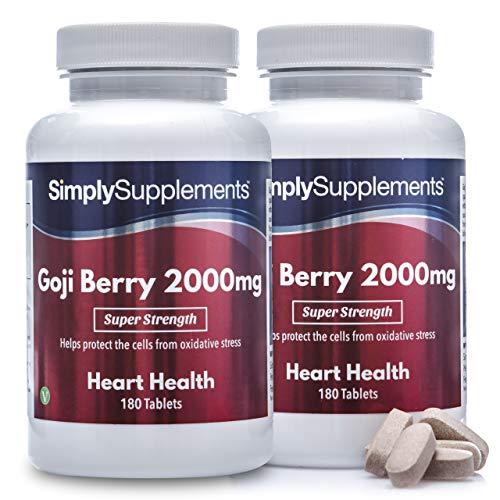 Estratto di Bacche di Goji 2000 mg - 360 compresse - Adatto ai vegani - 1 anno di trattamento - SimplySupplements