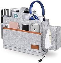 Bedside Pockets, Bedside Caddy ,TERSELY Bed Organizer Pocket Felt Hanging Storage Bag with Tissue Box and Water Bottle Hol...