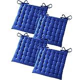 Gräfenstayn 4er-Set Baumwoll-Sitzkissen 40x40x5cm mit Haltebändern für Indoor und Outdoor mit...