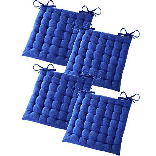 Gräfenstayn® 4er-Set Baumwoll-Sitzkissen 40x40x5cm mit Haltebändern für Indoor und Outdoor mit Öko-Tex Siegel - (Blau)